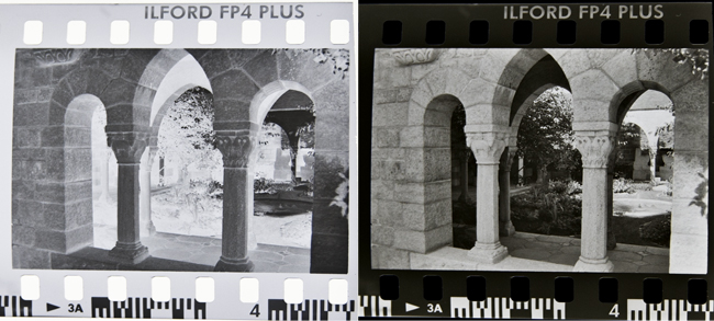Black and white film print vs film negative